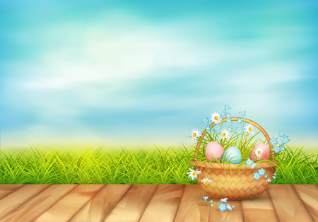 Spring vector landscape with Easter basket full of eggs and spring flowers