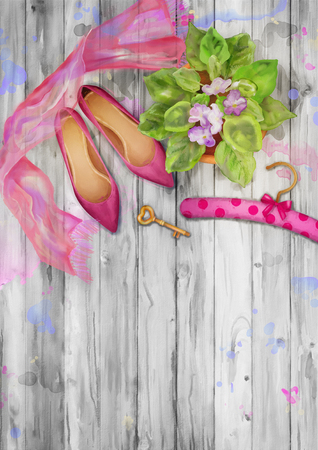 scarf: Romantic watercolor top view background with shoes, silk scarf, pot of flowers on wood background