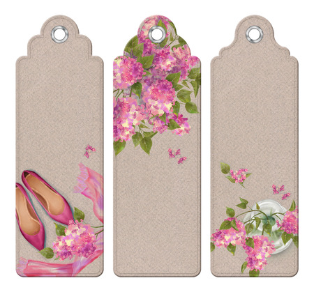 bookmarks: Spring watercolor top view bookmarks with cup of coffee, pen, lilac flowers bouquets, blank paper sheet