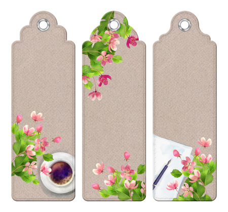 watercolor pen: Spring watercolor top view bookmarks with cup of coffee, pen, cherry blossom flowers, blank paper sheet