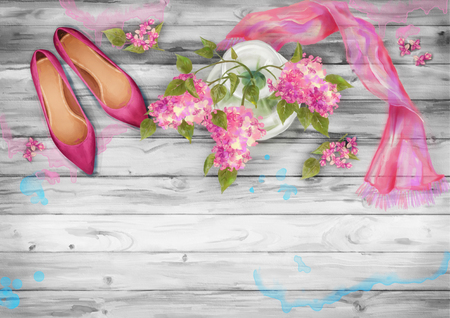 wooden shoes: Spring watercolor top view composition. Shoes, silk scarf and branch of lilac on wooden background