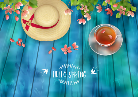 fallen: Spring Vector Top View Background. Cup of tea, straw hat, cherry blossom flowers with fallen petals on wooden table Illustration