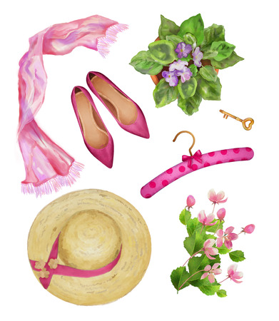 original: Watercolor female objects. Top view of  fashion woman objects on a white background Stock Photo