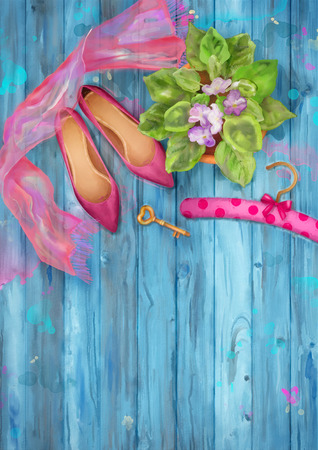 silk scarf: Romantic watercolor top view background with shoes, silk scarf, pot of flowers on wood background