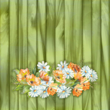 painted wood: Watercolor illustration of painted flowers on wooden background Stock Photo
