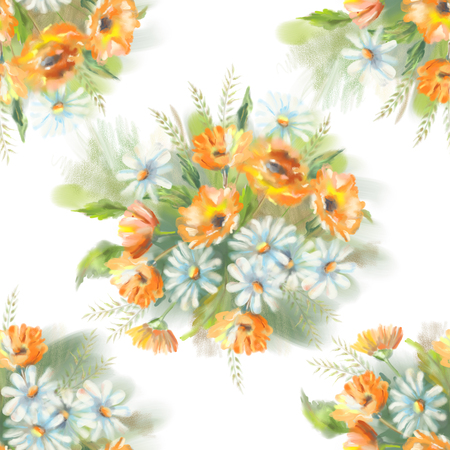 garden marigold: Watercolor seamless pattern with painted flowers bouquet. The original botanical garden nature art on a white background Stock Photo