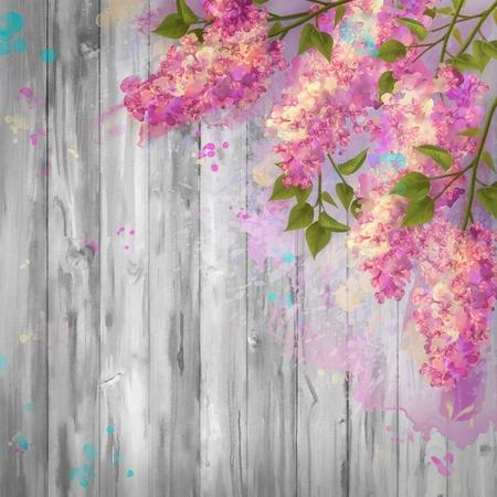 madera rústica: Gráfico de la acuarela ramas de lila sobre fondo de madera