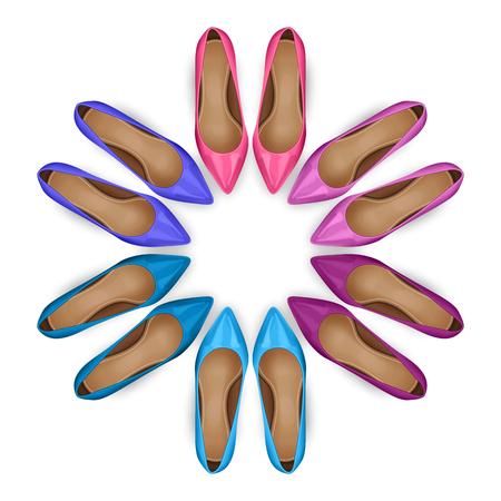 calcanhares: calçados femininos em círculo sobre o branco. vista de cima Ilustração