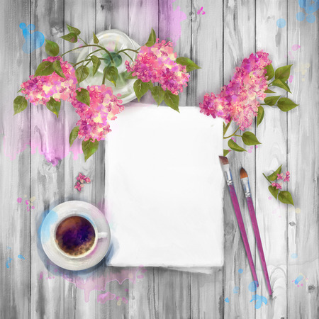 sheet of paper: Spring  watercolor top view background with bouquet of lilac in a vase, blank paper sheet, paint brushes on wooden table