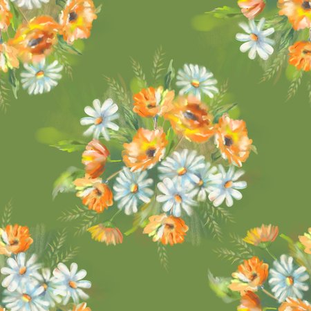 calendula: Watercolor seamless pattern with painted flowers bouquet. The original botanical garden nature art