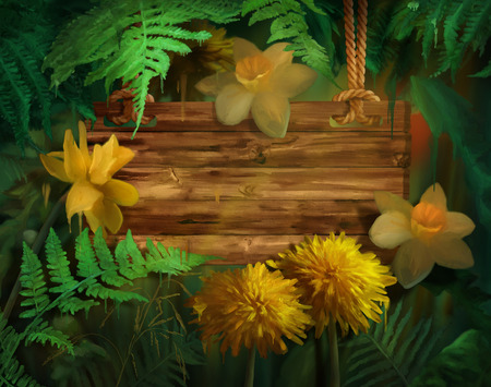 paint drips: Watercolor flowers with paint drips. Floral digital painting. Wooden signboard hanging on a rope Daffodils, Dandelions under the fern leaves