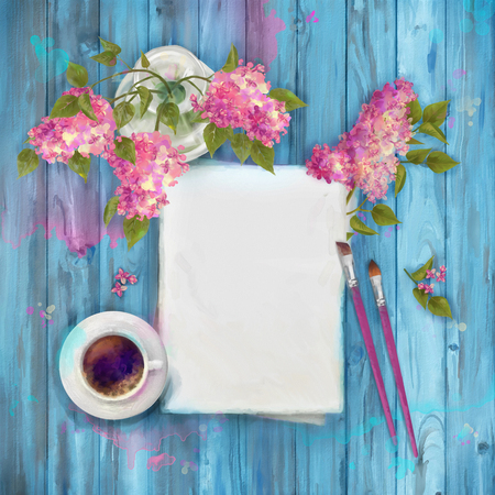 watercolor paper: Spring  watercolor top view background with bouquet of lilac in a vase, blank paper sheet, paint brushes on wooden table