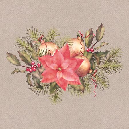 holiday garland: Watercolor painting Christmas and New year decorations. Colorful holiday garland