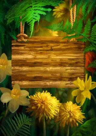 letreros: Flores de la acuarela con gotas de pintura. pintura digital floral. Señal de madera que cuelgan en una cuerda de los narcisos, los dientes de león bajo las hojas de helecho