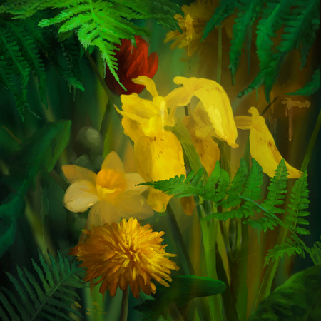 paint drips: Watercolor flowers with paint drips. Floral digital painting. Daffodils, Dandelions, yellow Iris under the fern leaves Stock Photo