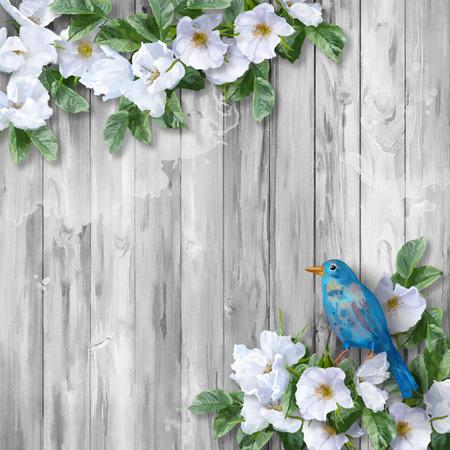 oiseau dessin: aquarelle florale de fleurs d'été blanc et oiseau bleu peint sur fond de bois