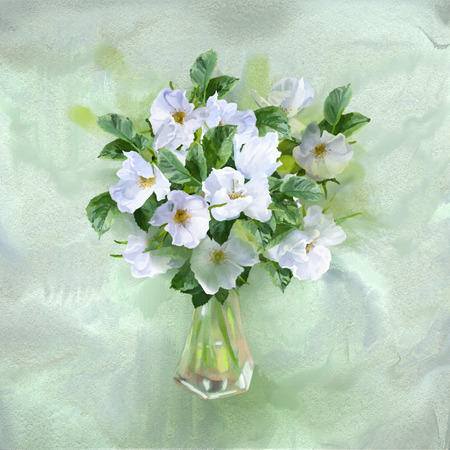 flowers in vase: Flowers bouquet in glass vase. Watercolor painting card with white summer flowers on a textured paper background