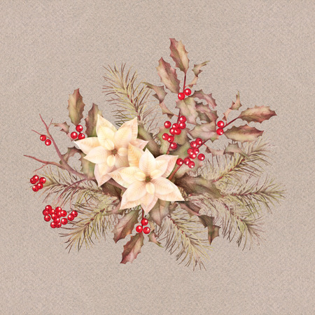 firtree: Christmas retro watercolor decorative composition with poinsettia flowers, Rowan, fir-tree and Holly branch Stock Photo