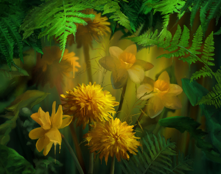 paint drips: Watercolor flowers with paint drips. Floral digital painting. Daffodils, Dandelions under the fern leaves