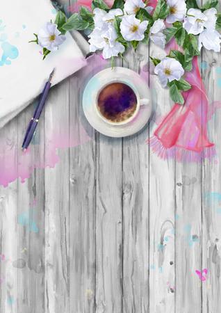 Acuarela composición de la vista superior. Hoja de papel con la pluma, la taza de café, bufanda de seda y flores blancas sobre fondo de madera de verano Foto de archivo