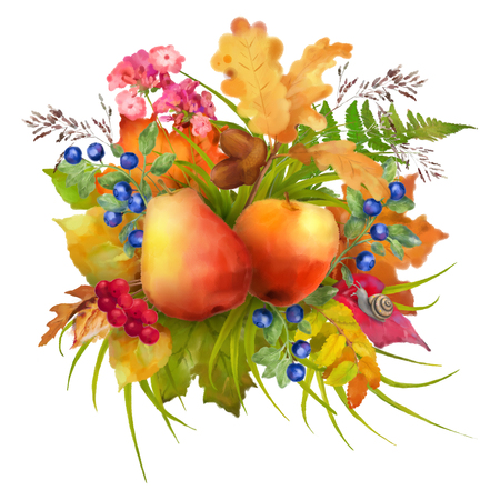 apple snail: Watercolor autumn composition with apple, pear, flowers, oak and maple fall leaves, snail on a white background