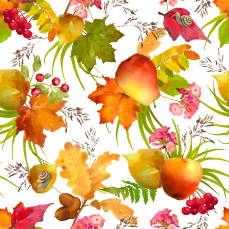 apple snail: Watercolor autumn seamless pattern with apple, pear, red flowers, oak and maple fall leaves, snail on a white background