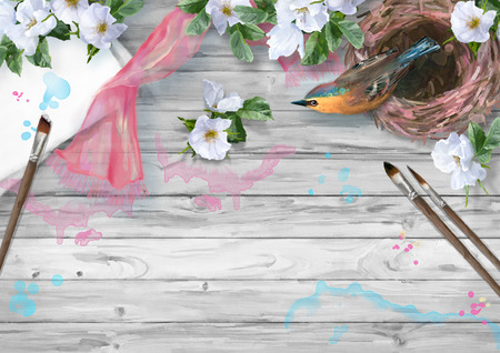 silk scarf: Watercolor top view composition. Paper sheet with paintbrush, bird at nest, silk scarf and white summer flowers on wooden background Stock Photo