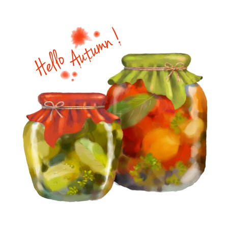 Watercolor painting of homemade preserves in glass jar with textile top decoration on a white background