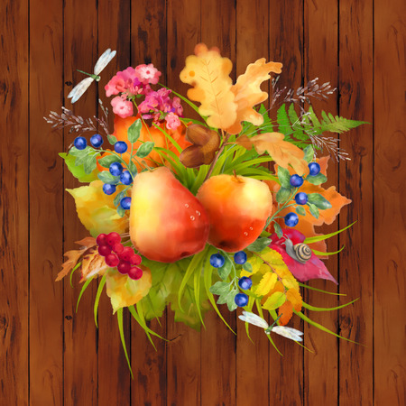 Watercolor autumn composition with apple, pear, flowers, oak and maple fall leaves, dragonflies, snail on wooden brown background