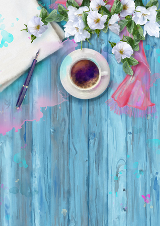 silk scarf: Watercolor top view composition. Paper sheet with pen, cup of coffee, silk scarf and white summer flowers on wooden background