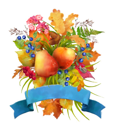 apple snail: Watercolor autumn composition with apple, pear, flowers, oak and maple fall leaves, snail and ribbon banner on a white background