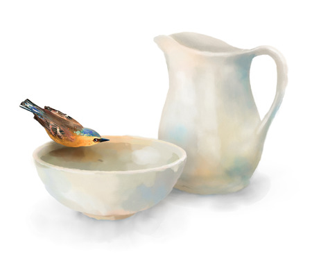 water bird: Watercolor painting still life. Pitcher and bird drinking water from a pottery bowl on a white background