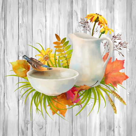pitcher: Watercolor autumn composition. Pitcher and bird drinking water from a pottery bowl, flowers, fall leaves on a wooden background