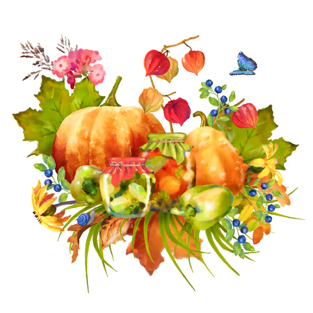 Illustration of watercolor Thanksgiving composition with pumpkin, autumn flowers, fall leaves on a white background