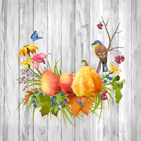 autumn flowers: Illustration of watercolor Thanksgiving composition with pumpkin, autumn flowers, fall leaves and bird on a wooden background