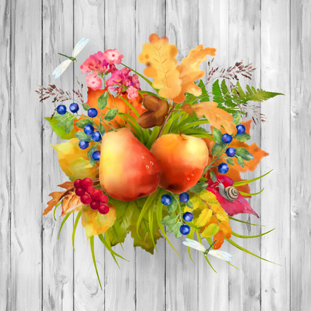 apple snail: Watercolor autumn composition with apple, pear, flowers, oak and maple fall leaves, dragonflies, snail on wooden grey background