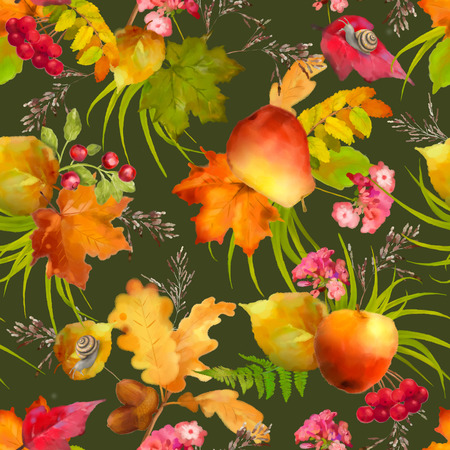 apple snail: Watercolor autumn seamless pattern with apple, pear, red flowers, oak and maple fall leaves, snail