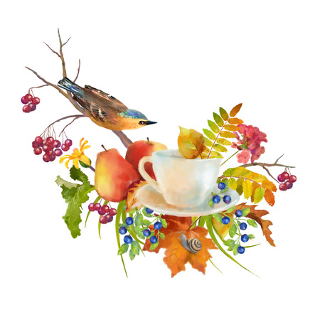 fall leaves on white: Watercolor autumn composition with cup, flowers, fall leaves, tree branch, bird on a white background Stock Photo