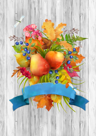 Watercolor autumn composition with apple, pear, flowers, oak and maple fall leaves, dragonflies, snail and ribbon banner on wooden grey background Stock Photo