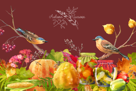 Watercolor Thanksgiving composition with pumpkin, autumn flowers, fall leaves and birds