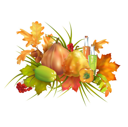 Thanksgiving vector autumn composition with pumpkin and fall leaves