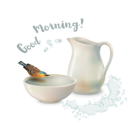 water bird: Vector Good Morning concept design. Pitcher and bird drinking water from a pottery bowl on a white background