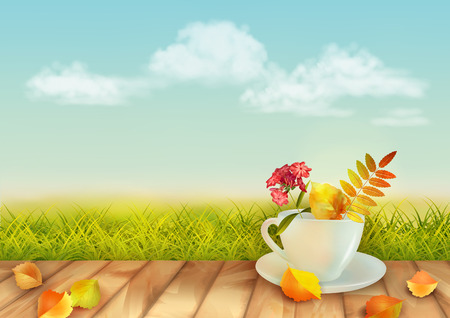 colourful sky: Vector autumn day natural background with cup, flowers, fall leaves, textured wooden floor against blue sky