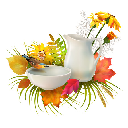 Autumn vector composition. Pitcher and bird drinking water from a pottery bowl, flowers, fall leaves on white background Illustration
