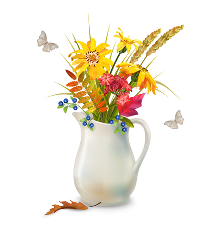 fall leaves on white: Vector autumn bouquet in ceramic jug with fall leaves and flowers on a white background Illustration