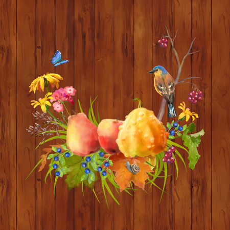 Illustration of watercolor Thanksgiving composition with pumpkin, autumn flowers, fall leaves and bird on a wooden background