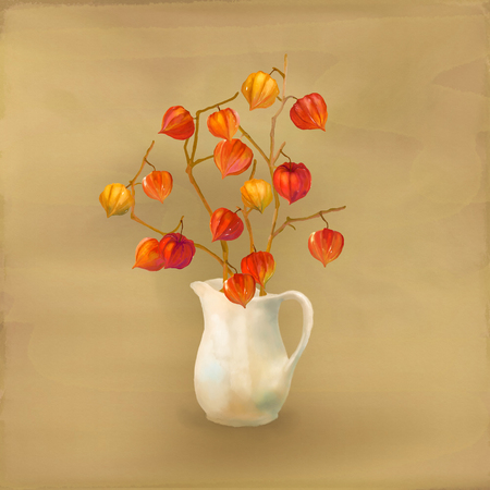 winter cherry: Watercolor hand drawn illustration. Autumn branches of physalis in a vase