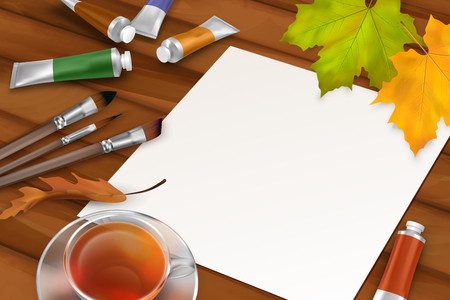 fall leaves background: Vector autumn background with blank sheet of paper, fall leaves, paintbrushes, paint tubes, teacup on wooden background