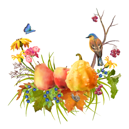 fall leaves on white: Illustration of watercolor Thanksgiving composition with pumpkin, autumn flowers, fall leaves and bird on a white background Stock Photo