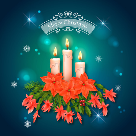 new year greeting: Vector Christmas and New Year greeting card. Holiday Composition of the Christmas decorations Illustration